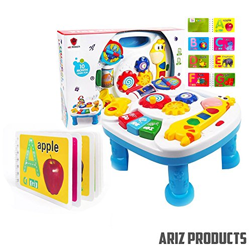 MUSICAL LEARNING TABLE For Babies - FREE Alphabet Book, Finest Musical Learning Table With Songs-Greetings-Colours & Animal Sound Recognition. BEST Entertaining Desk Develops Motor Skills & Encourage Exploration In Children. Limited Offer BUY NOW