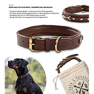 Jack & Russell Premium Leather Dog Collar Genuine Leather Brown Adel