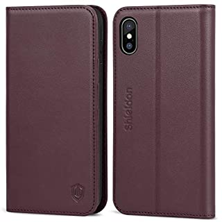 SHIELDON iPhone XS Max Case, iPhone XS Max Wallet Case, Genuine Leather Cover with [RFID Blocking][Auto Wake/Sleep][Viewing Stand] Flip Case Cover Compatible with iPhone XS Max(6.5 inches), Wine Red
