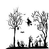 Sannysis Halloween Wandtattoos Sticker Aufkleber Wandsticker Wanddekoration Wandaufkleber Hexe Leuchtet Fledermaus Spinnen Muster Gothic Home Deko (Siehe Beschreibung, A)
