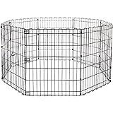 AmazonBasics Foldable Metal Pet Dog Exercise Fence Pen - 60 x 60 x 30 Inches