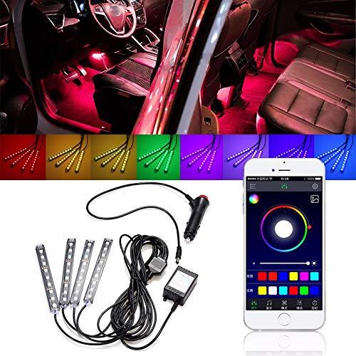 FATO. 4tlg LED Auto-Innen Dekoration Beleuchtung Boden Atmosphere Light Strip Phone App Steuerung Bunte RGB -