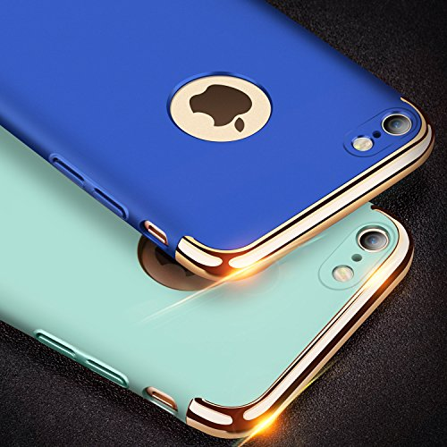 iPhone 7 Hülle, TORRAS Ultra Dünn Slim Anti-Fingerprint 3in1 Luxus Abnehmbare Schutzhülle Hülle mit Premium Electroplate Frame Stoßfest Case Cover für Apple iPhone 7 - Mint Mint