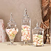 Yinmake Apothecary Jars,Clear Glass Candy Food Canisters,Sugar Sweet Decoration Storage Containers with Push Top for Wedding,Buffet,Kitchen(Set,3PC)