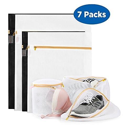 Ecooe Sacs à linge Mesh pour machine à laver, Ensemble de 7, fines et renforcées, pour lingerie, soutiens-gorges, chaussures, charcuteries, chandails et plus