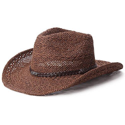 SIGGI unisex Cowboy Stroh Hüte Formbare Krempe mit Kinnriemen (Stroh Safari Hut)