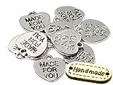20 Stück Made for You Herz Metall Knopf Label Anhänger Schild Incl. 1 Holzlabel Handmade...