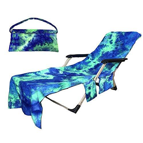 SUMSEA Strandkorb Handtuch Lounge Chair Cover, Mikrofaser Strandtasche Garten Sonnenliege Handtuch Stuhl Strandtuch mit Taschen schnell trocknende Handtücher, 210x75cm (Blau)