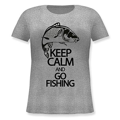 Angeln - Keep calm and go Fishing - Lockeres Damen-Shirt in großen Größen mit Rundhalsausschnitt Grau Meliert