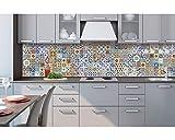 Küchenrückwand Folie selbstklebend PORTUGIESISCHE FLIESEN 260 x 60 cm | Klebefolie - Dekofolie - Spritzchutz für Küche | PREMIUM QUALITÄT