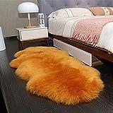 Tappeto Vello di Pecora 7-8cm Lunga Pelliccia Morbida Shaggy Area Tappeti per Camera da Letto Divano Pavimento,Camel-27.5×78.7Inch(70×200cm)