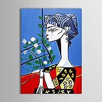 IPLST@ Dipinto a mano della gente del fumetto donna su tela olio per Decorazione Camera- 24 X 36inch (senza cornice, senza telaio)