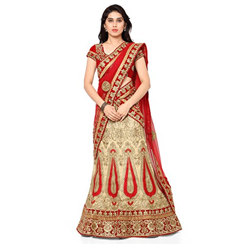 NAAIDAAKHO BEIGE AND RED COLOR HEAVY EMBROIDERED BBENGLORY SILK LEHENGA CHOLI