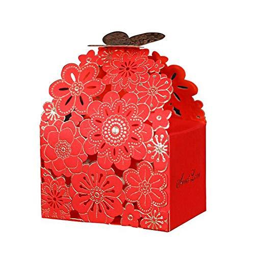 Chinashow 50pcs Hohle Blumen-dekorative Festlichkeits-Kasten-Hochzeitsfest-Bevorzugungs-Kasten-Süßigkeits-Taschen-Schokoladen-Geschenk-Kästen Rot