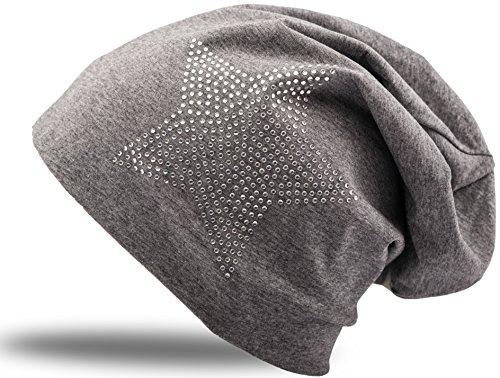 f621a10d264500 Jersey Baumwolle elastisches Long Slouch Beanie Unisex Herren Damen mit  Strass Stern Steinen Mütze Heather in
