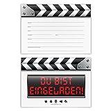 Einladungskarten Erwachsene Kinder Junge Mädchen Geburtstag 12 Stück Karten - Filmklappe Kino Einladung