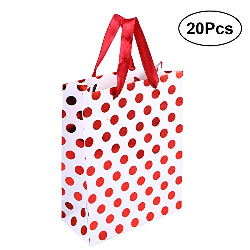 STOBOK 20 STÜCKE 18x8,5x24 cm Geschenk Taschen Tupfen Premium Verschiedene Goldene Geschenk Taschen mit Griff Größe (Red Dot)