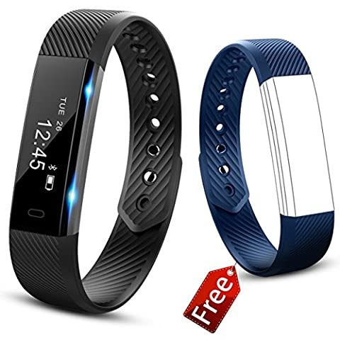 Best Fitness Tracker Watch 2017 by NAPPERBAND - 2 Coloured Bands Included - Activity Tracker - Calorie Counter - Pedometer - Sleep Monitor - Remote Camera - Bluetooth - Sedentary and Hydration Alerts - Smart Fitness Watch with Time/Date/Stopwatch/Alarm - Call and Message Notifications with caller ID for Android / iOS - Touch Screen - Suitable for Men/ Women/ Children (black /blue)