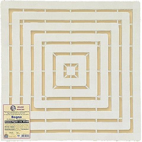 Tappeto bianco per doccia con fondo in plastica rigida 60x60 cm tappeti