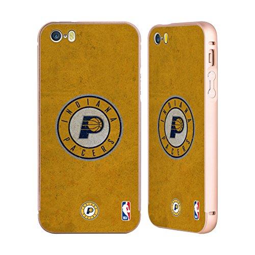 Ufficiale NBA Banner Indiana Pacers Oro Cover Contorno con Bumper in Alluminio per Apple iPhone 5 / 5s / SE Rovinato