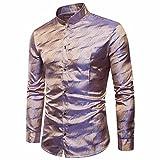 Rawdah Tencel Chemise à Manches Longues Mode Oblique Shirt Patte de Boutonnage Impression Slim à Manches Longues Occasionnels Shirts Bouton Formelle Imprimé Casual Top Pour Hommes (XL, A-Rouge)