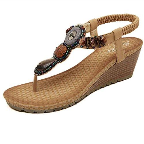 Hunpta Vintage Frauen Sandalen Fashion Sommerstrand Perlen Sandalen Damenschuhe Khaki