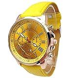 Fashion Armbanduhr, ICHQ Damenmode Stilvolle Kunstleder Band Analoge Quarz-Armbanduhr (Gelb)