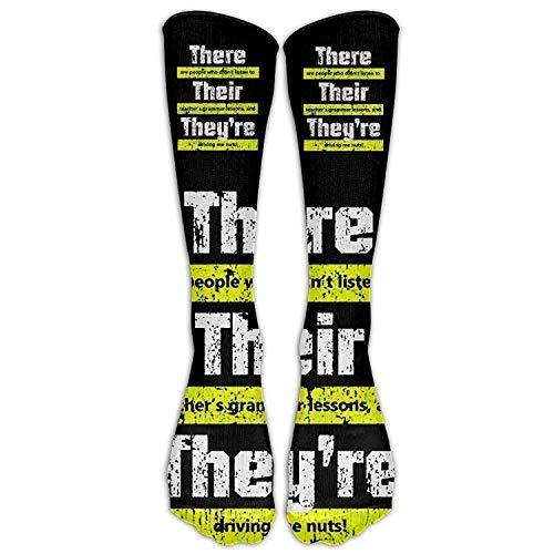Rundafuwu Funny English Teacher Grammar Sport Unisex Stockings Men's&Women's High Sockens One Size 50CM