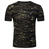 UFACE Herren Camouflage Kurzarm-Print Top T-Shirt Herren Casual Camouflage Print O-Ausschnitt Pullover T-Shirt Top Bluse (M, Armeegrün)