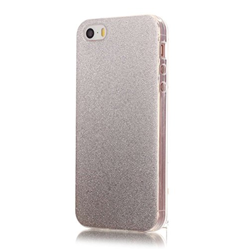 iPhone SE Coque,iPhone 5S Case,iPhone 5 Cover - Felfy Ultra Mince Slim Flexible Souple Soft Gel TPU Silicone Case Cover Coque Housse Changement Graduel Coloré Bling Glitter Shiny étoile Protection TPU Argent