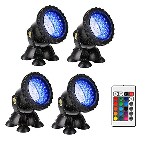 Unterwasser Spot Licht, 4 stücke 36 Leds RGB Fernbedienung Spot Licht IP68 Wasserdicht für Aquarium Gartenteich Aquarium Beleuchtung, EU stecker (black)