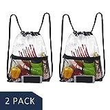 Hugool Klare Kordelzug Tasche, PVC Rucksack mit Reißverschluss Netztasche vorne, durchsichtiger...