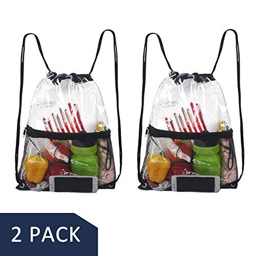 Hugool Klare Kordelzug Tasche, PVC Rucksack mit Reißverschluss Netztasche vorne, durchsichtiger Netzkordelzug Rucksack für den Außenbereich (Schwarz * 2) (Taschen Klar Kordelzug)
