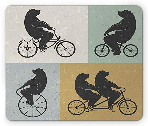 Vintage Mouse Pad, Big Cute Bear on a Bike Bicycle Cycling Hipster Circus Life Outdoor Animal Enjoy, Standard Size Rectangle Non-Slip Rubber Mousepad, Multicolor (Jet Circus)