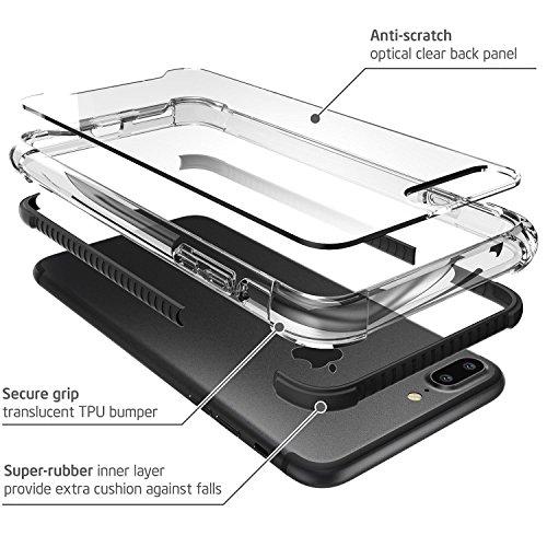 iPhone 7 Plus Hülle, iPhone 8 Plus Hülle, i-Blason Shockproof Schutzhülle Back Cover Transparente Handyhülle Stoßfest Case Schale für Apple iPhone 7 Plus / iPhone 8 Plus, Orange schwarz