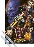 1art1® Póster + Soporte: Los Vengadores Póster (91x61 cm) Infinity War Y 1 Lote De 2 Varillas Transparentes