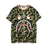 Bape Camouflage Fake Zipper Animal Avatar Pattern Personality Tide Brand Men and Women Short-Sleeved T-Shirt