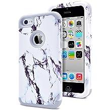 iPhone 5C Funda,Dailylux Carcasa iPhone 5c Funda iPhone 5c híbrido de alto impacto de silicona suave y cubierta de la caja dura de la PC para iPhone 5C -Mármol