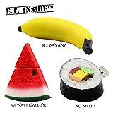 E.T. Inside Speicherstick USB 64GB Fruchtform Wassermelonen Bananen Sushi (Packung mit 3 Stück)