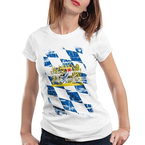Bayern Vintage Flagge Damen T-Shirt München Oktoberfest Fussball FC, Farbe:Weiß;Größe:M