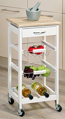 Kesper Küchenwagen, Eiche, Weiß, 36 x 36 x 77 cm