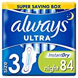 Always Ultra Night Sanitary Towels with Wings 28 Pads Super Absorbent, Neutralises Odours, Ultra Thin, Super Saving Box, 3 Packs of 28 Count (Total 84 Count), Size 3