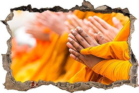 prière religieuse percée moines de mur en 3D look, mur ou format vignette de la porte: 92x62cm, stickers muraux, sticker mural, décoration murale - religiosi Articoli