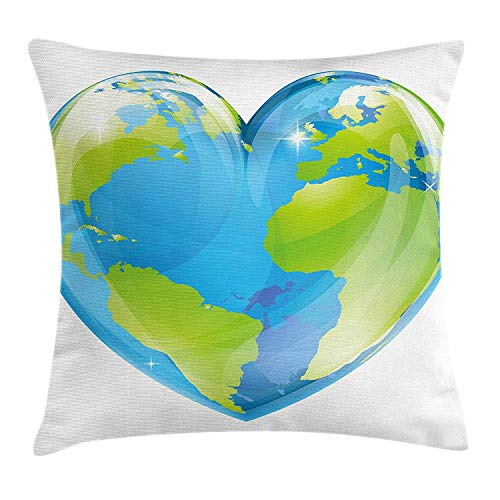 Earth Throw Pillow Cushion Cover, Vibrant Globe of Earth in Heart Shape Love The World Care for Environment, Decorative Square Accent Pillow Case,Pale Blue Lime Green Size:20X20 Inches/50X50Cm (Chocolate World Globes)