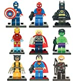 9 Set Mini Figures Marvel and DC Comics - Super Heroes Great Party Bags Or Gift MiniFigs with Batman, Spiderman, Ironman, Thor, Wolverine, Captain America, Hawkeye,Hulk and more