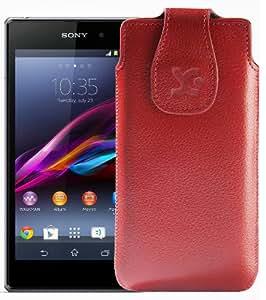 Original Suncase Tasche für / Sony Xperia Z1 Compact / Leder Etui Handytasche Ledertasche Schutzhülle Case Hülle / in vollnarbig-rot