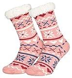 Piarini 1 Paar Kuschelsocken mit ABS Sohle | warme Damen Socken | Wintersocken mit Anti Rutsch Noppen | Love-Rosa (One-Size)