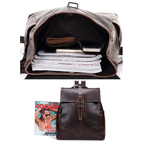 Yimidear borsa uomo in cuoio primo strato di pelle ultra sottile a spalla a mano messaggero business viaggio laptop entro 15 Marrone