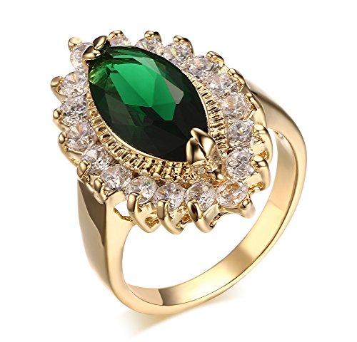 Vnox la femme est plaquée or du zircon anneau vert cuivre marquise forme de mariage la promesse d'engagement