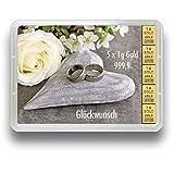 3g oder 5g Goldbarren in der Motivbox Hochzeit - Geschenkidee zur Hochzeit - Wählbar zwischen 3g oder 5g 999.9 Feingold 5g Geschenkbarren